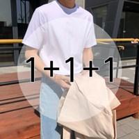 [1+1+1][기획특가] S-3XL 레이어드 라운드 무지 반팔 티셔츠