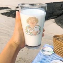할머니 고양이컵/ 봄사무소 일러스트 컵