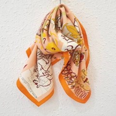 실크 롱 오렌지 네이비 데일리 중년 엄마 패션 스카프