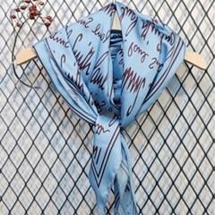 실키 롱 레터링 블루 블랙 데일리 미시 패션 스카프