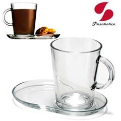 파사바체 커피잔세트 유리찻잔 컵받침 손잡이 홍찻잔 홈_(589932)