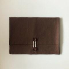 단추 북파우치 (button book pouch) - 브라운 brown