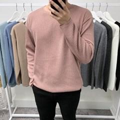 봄 오버핏 라운드넥 컬러 무지 골지 박스 긴팔 티셔츠