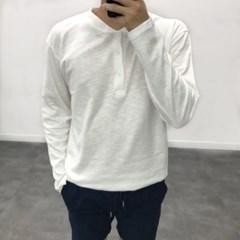 봄 루즈핏 헨리넥 무지 기본 이너 10수 단추 긴팔 티셔츠