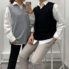 봄 커플 오버핏 V넥 무지 컬러 정장 니트 조끼 베스트
