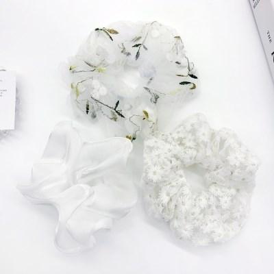[3개세트][3color] 화이트 셀프웨딩 꽃 플라워 자수 곱창 머리끈