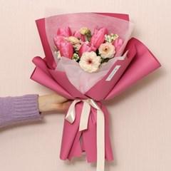 핑크 튤립 & 라넌 꽃다발 (생화, 전국택배)