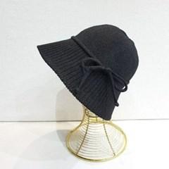 니트 리본 블랙 소라 데일리 버킷햇 벙거지 모자