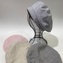 체크 핑크 베이지 데일리 꾸안꾸 패션 베레모 모자