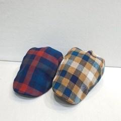 체크 베이지 네이버 챙넓은 꾸안꾸 패션 베레모 모자