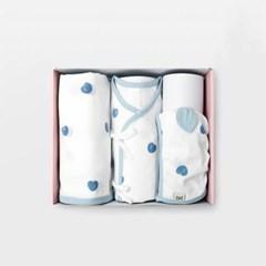 블루베리 신생아 출산선물세트(저고리+속싸개+모자)_여름용