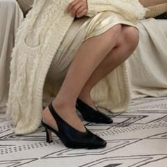 여성 여성 가죽 스퀘어토 앞코포인트 슬링백 미들힐 DONA 6003