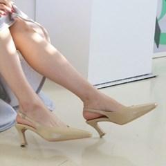 여성 여성 가죽 스퀘어토 심플 라인 슬링백 미들힐 MISS 3563