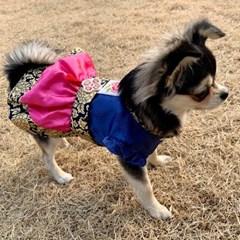강아지 한복 프릴 소매 강아지 핸드메이드 한복