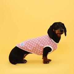 플로트 실내복도트민소매티셔츠 강아지옷 핑크