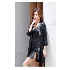 실키나잇 여성 슬립 잠옷세트 (블랙) (M)