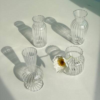 작은 꽃 한송이 투명 미니 유리 화병[4 type]