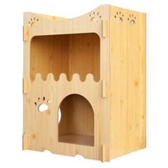 고양이집 원목 고양이 강아지 하우스 집 숨숨집 2단