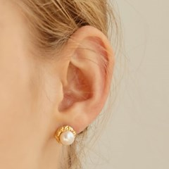 [KEY,효정,이유비 착용]vintage flower pearl earring