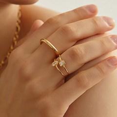 [엑소 카이 착용]SET square diamond cubic ring