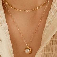 vintage flower pearl necklace