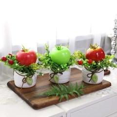 풍수 인테리어 모형과일 나뭇잎 조화화분 소 1p_(2348794)