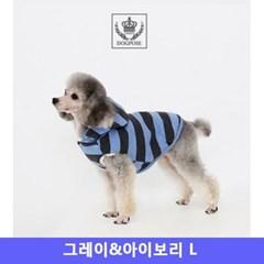 도그포즈 강아지 옷 후드점퍼 그레이앤아이보리 L