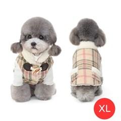 중소형견 양털 체크 후리스 강아지 조끼 핑크 XL