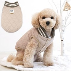 패리스독 얼스 컬러 퀼팅패딩 베이지 애견 겨울옷