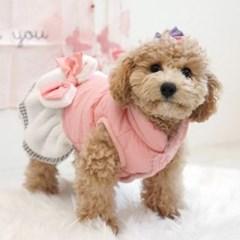 패리스독 에센셜 리본 패딩 드레스 핑크