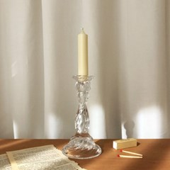 투명 롱유리 엔틱 촛대