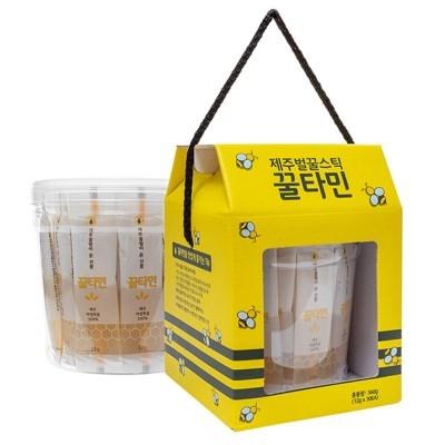꿀타민 제주도 야생화벌꿀 스틱 원통(12g 스틱 30개)