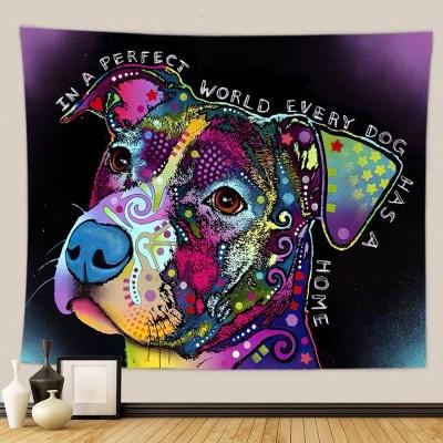 태피스트리 벽장식 패브릭포스터 - 레인보우 도그 (150x130cm)