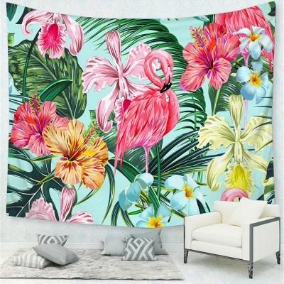 태피스트리 벽장식 패브릭포스터 - 플라워 플라밍고 (150x130cm)