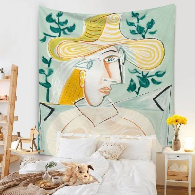 태피스트리 벽장식 패브릭포스터 - 모자 쓴 여인 2 (130x150cm)