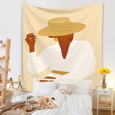 태피스트리 벽장식 패브릭포스터 - 모자 쓴 여인 1 (130x150cm)