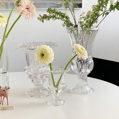 프렌치 유리 성배 투명 크리스탈 화병 꽃병 [3 type]