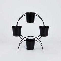 [모던하우스] 블랙 메탈 라운드 미니팟 4구