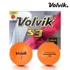 볼빅 S3 White Color 3피스 컬러볼 12구 골프공 오렌지 주황색