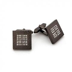 사각 큐빅 블랙 커프스 버튼 RCF005