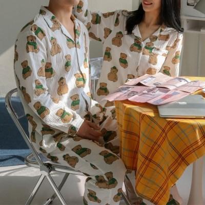 (자체제작)요루면 커플잠옷 파자마 순면 신혼부부 홈웨어 빅사이즈