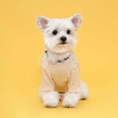 플로트 실내복사이드스냅티셔츠 강아지옷 옐로우스트라