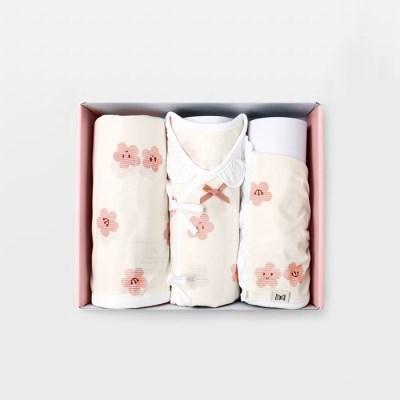 벚꽃 출산선물세트(배냇저고리+속싸개+모자)_여름용