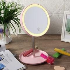 LED 조명거울(핑크)/ 메이크업 탁상거울
