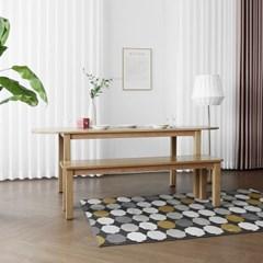 [오크] Q형 커브식탁/테이블 세트 : 화이트오크 1800_(1671751)
