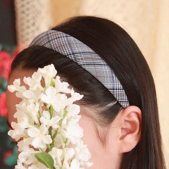 잔체크패턴 엄마아이커플 머리띠 헤어밴드 5컬러