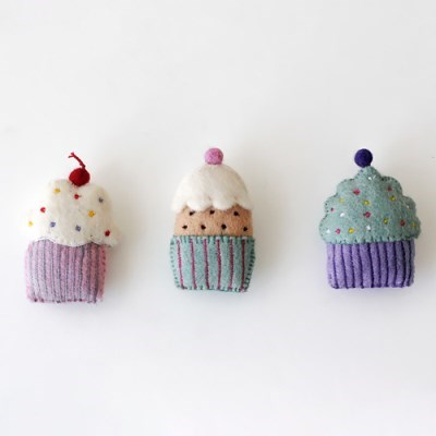 컵케이크 펠트장식 3colors