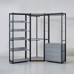 카소 철제 드레스룸 2400 코너형 서랍 선반장 세트