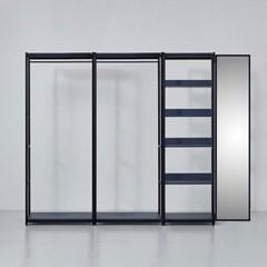 카소 철제 드레스룸 2200 1단 선반 거울장 세트