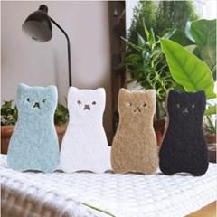 미니멀 고양이모양 스폰지 수세미 4매1세트(색상랜덤)